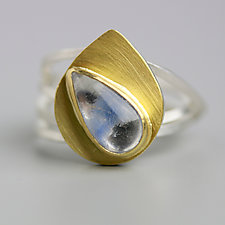 Dumortierite in Quartz Ring by Wendy Stauffer (Gold, Silver & Stone Ring, Size 7.5)