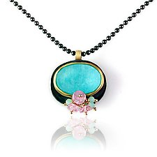 Amazonite with Pink Sapphire Clusters and Mixed Metals Necklace by Wendy Stauffer (Jewelry Necklaces)