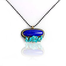 Lapis Necklace with Turquoise Fringe by Wendy Stauffer (Jewelry Necklaces)