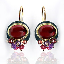 Garnet Earrings with Amethyst and Pink Sapphire Fringe by Wendy Stauffer (Gold, Silver & Stone Earrings)