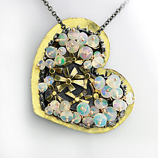 My Heart is Full of Hearts and Daisies Necklace by Wendy Stauffer (Gold, Silver & Stone Necklace)
