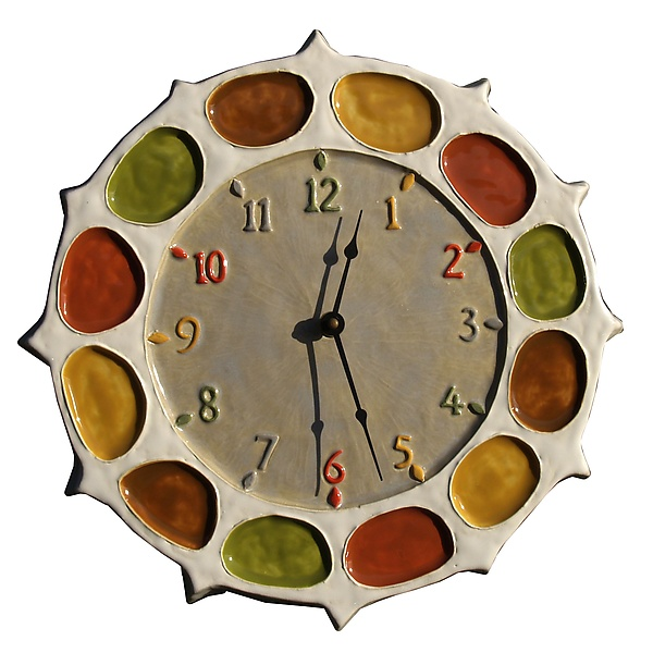 Nautical Wheel Ceramic Wall Clock in Oyster, Ocher, Green, and Red Glazes