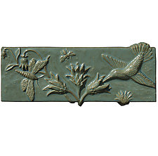 Pollinators in Antique Teal Glaze by Beth Sherman (Ceramic Wall Sculpture)