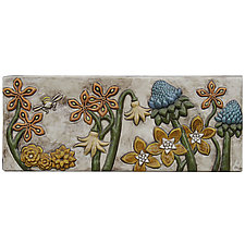 Botanical and Bees Ceramic Tile in Off White Background by Beth Sherman (Ceramic Wall Sculpture)