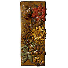 Botanical Tile in Amber, Yellow, Red, and Green by Beth Sherman (Ceramic Wall Sculpture)