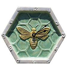 Honeycomb Honeybee Wall Clock in Patina and Oyster Glaze by Beth Sherman (Ceramic Clock)