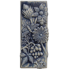 Botanical Tile in Night Sky by Beth Sherman (Ceramic Wall Art)