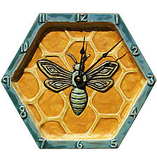 Honeycomb Honeybee Wall Clock in Teal & Orange by Beth Sherman (Ceramic Clock)