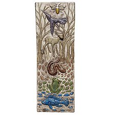 Totem of Animals Tile in Off White by Beth Sherman (Ceramic Wall Sculpture)