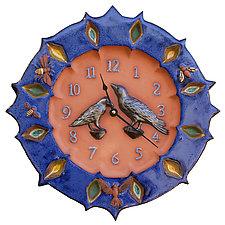 Ravens Wall Clock in Terracotta & Sapphire by Beth Sherman (Ceramic Clock)