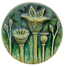 Circle of Poppies in Green Glaze by Beth Sherman (Ceramic Wall Art)