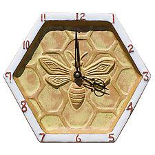 Honeycomb Honeybee Wall Clock in Terra Cotta, White & Yellow by Beth Sherman (Ceramic Clock)