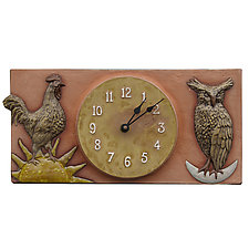 Rooster and Owl Terracotta Ceramic Wall Clock by Beth Sherman (Ceramic Clock)
