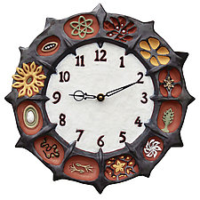 Wheel of Life Ceramic Wall Clock in Terra-Cotta Clay by Beth Sherman (Ceramic Clock)