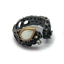 Open Form Hive Ring with Moonstone by Shauna Burke (Gold, Silver & Stone Ring)