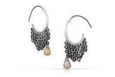 Remnant Dangle Hoop Earrings by Shauna Burke (Silver & Stone Earrings)