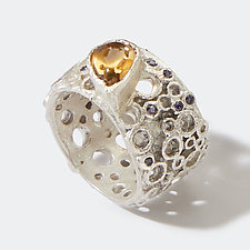 Citrine Wide Hive Band by Shauna Burke (Silver & Stone Ring)