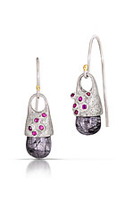 Beehive Remnant Drop Earrings by Shauna Burke (Silver & Stone Earrings)