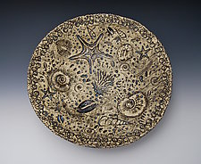 Blue Fossil Bowl by Valerie Seaberg (Ceramic Bowl)