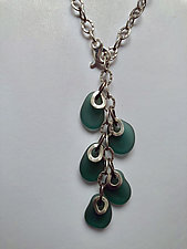 Flat Baroque Bead Necklace in Dark Green by Eloise Cotton (Silver & Stone Necklace)