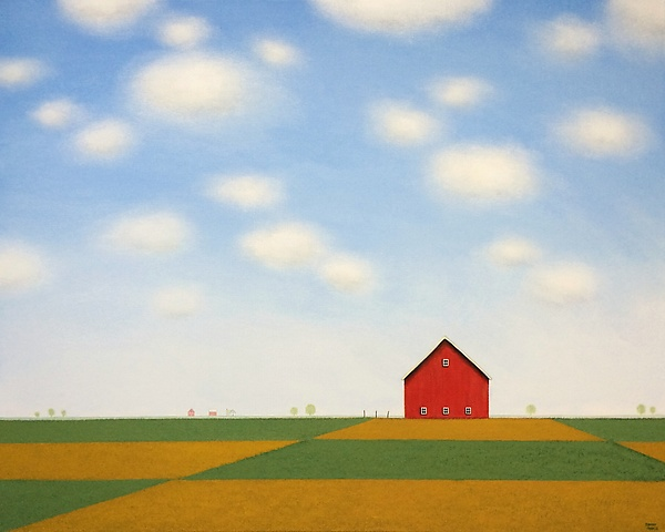 Red Barn in the Patchwork Fields