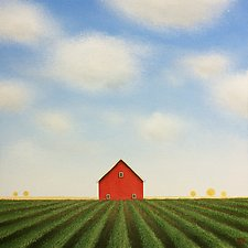 Red Barn Beyond the Summer Rows by Sharon France (Acrylic Painting)