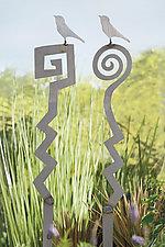 Bird Spiral Garden Stake Set by Piper Foreso (Metal Sculpture)