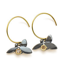 Champagne Diamond Leaf Earrings by Susan Crow (Gold, Silver & Stone Earrings)