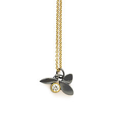 Diamond Leaf Pendant Necklace by Susan Crow (Gold, Silver & Stone Necklace)