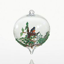 Robin's Return by Steve  Scherer (Art Glass Ornament)