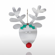 Rudolph the Red-Nosed Reindeer by Sondra Gerber (Metal Ornament)