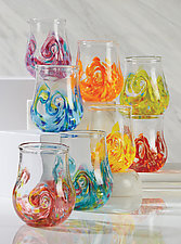 Set of Eight Bright Twisty Cups by Mariel Waddell and Alexi Hunter (Art Glass Drinkware)