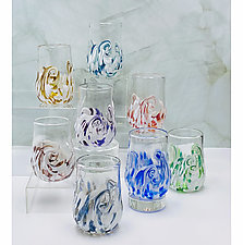Set of Eight Arctic Twisty Cups by Mariel Waddell and Alexi Hunter (Art Glass Drinkware)