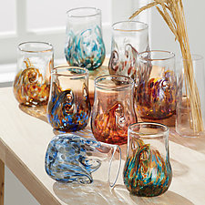 Set of Eight Element Twisty Cups by Mariel Waddell and Alexi Hunter (Art Glass Drinkware)
