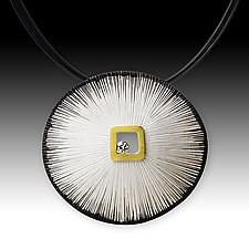 Sand Dollar Pendant with Diamond by Susan Mahlstedt (Gold, Silver & Stone Necklace)