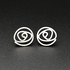 Labyrinth Small Stud Earrings by Theresa Kwong (Silver Earrings)