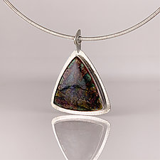 Triangular Enamel Pendant Necklace by Jan Van Diver (Gold, Silver & Enamel Necklace)
