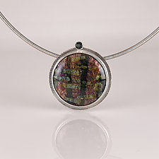 Multicolor Organic Pendant Necklace by Jan Van Diver (Gold, Silver & Enamel Necklace)