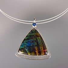 Blue Topaz Triangular Enamel Pendant Necklace by Jan Van Diver (Silver, Stone & Enamel Necklace)