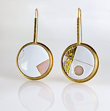 Asymmetric Abstract Gold Cloisonne Enamel Earrings by Jan Van Diver (Gold, Silver & Enamel Earrings)