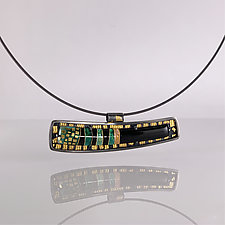 Contemporary Gold Cloisonne Keum Boo Necklace by Jan Van Diver (Gold, Silver & Enamel Necklace)