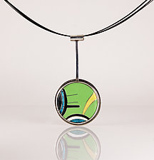 Modernist Silver Cloisonne Pendant Necklace by Jan Van Diver (Silver & Enamel Necklace)