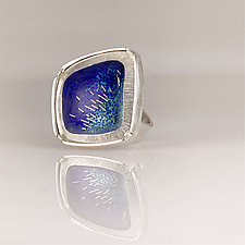 Modern Asymmetrical Ring by Jan Van Diver (Silver & Enamel Ring)