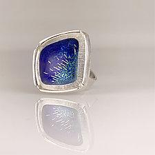 Modern Asymmetrical Ring by Jan Van Diver (Silver & Enamel Ring)