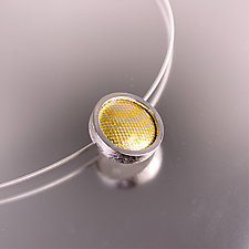 Modern Enameled Grid Design Slider Pendant by Jan Van Diver (Gold & Silver Necklace)