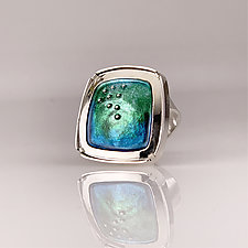 Contemporary Asymmetrical Square Ring by Jan Van Diver (Silver & Enamel Ring)