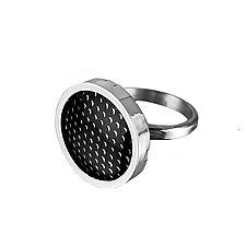 Black Enamel and Silver Grid Patterned Ring by Jan Van Diver (Enameled Rings)