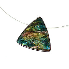 Organic Earth Toned Enamel Pendant Necklace by Jan Van Diver (Silver, Stone & Enamel Necklace)