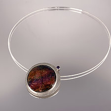 Violet & Russet Organic Enamel Pendant Necklace by Jan Van Diver (Gold, Silver, Stone & Enamel Necklace)