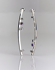 Sleek Asymmetric Silver & Gemstone Earrings by Jan Van Diver (Silver & Stone Earrings)